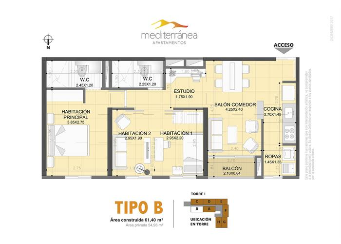 61,40 m2 tipo B