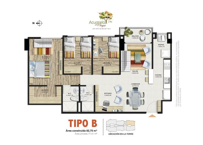 82,70 m2 Tipo B