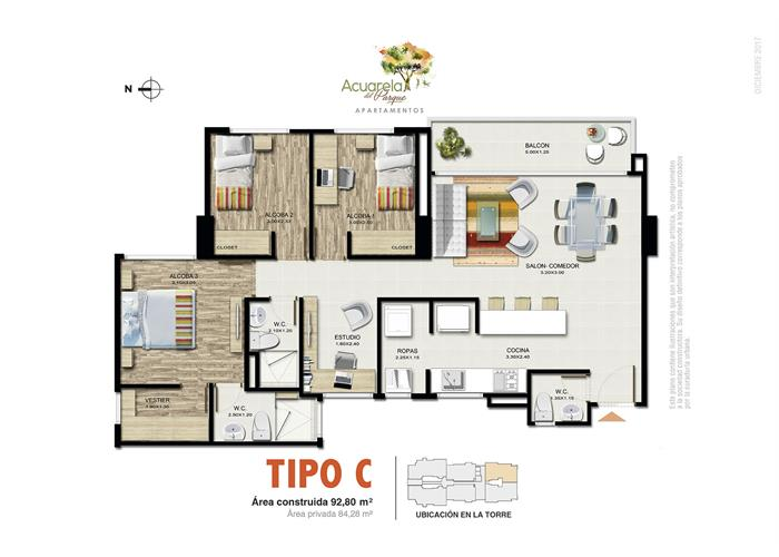 92,80 m2 tipo C