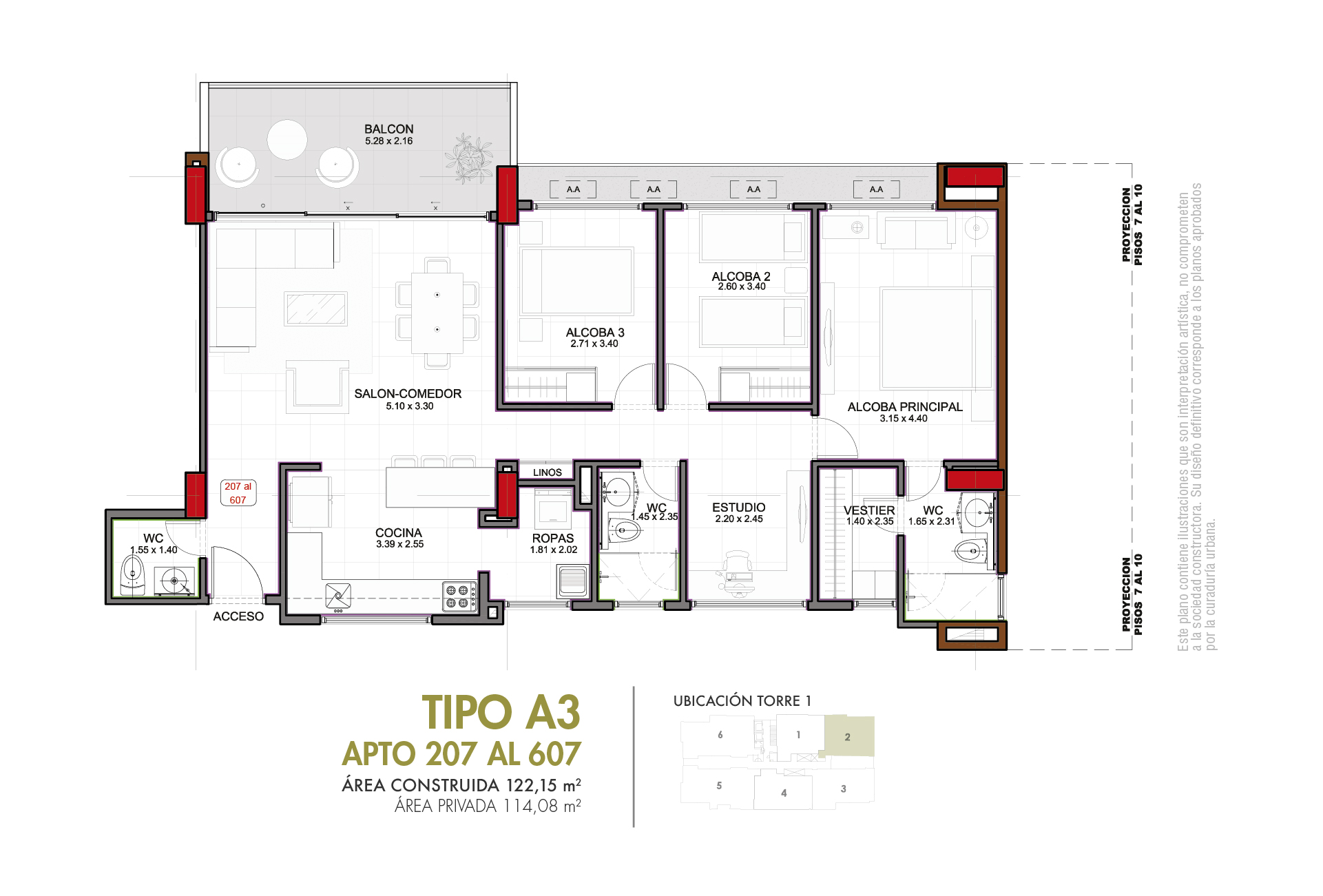 Tipo A3 114,08 m2