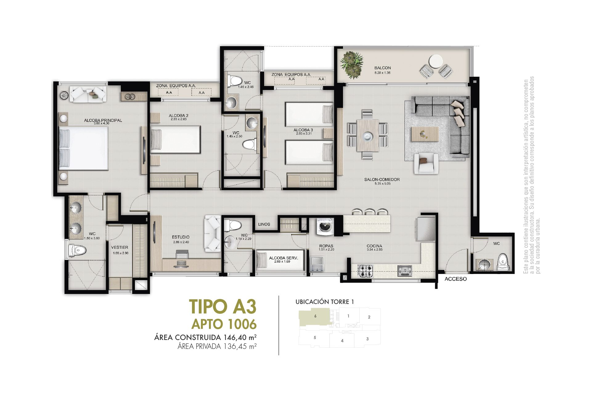 Tipo A3 136,45 m2