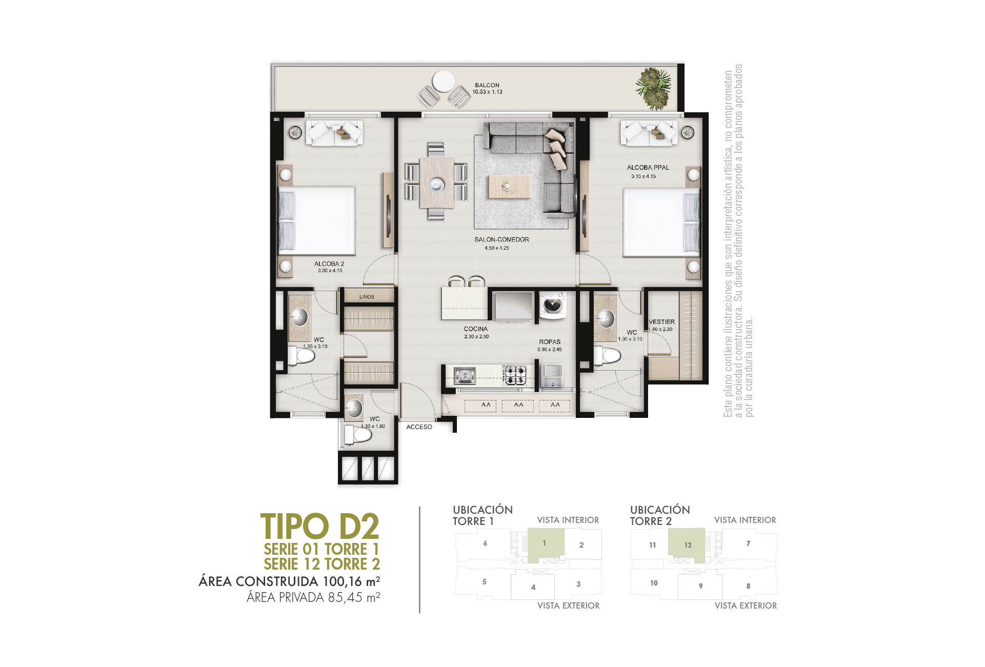 Tipo D2 85,45 m2