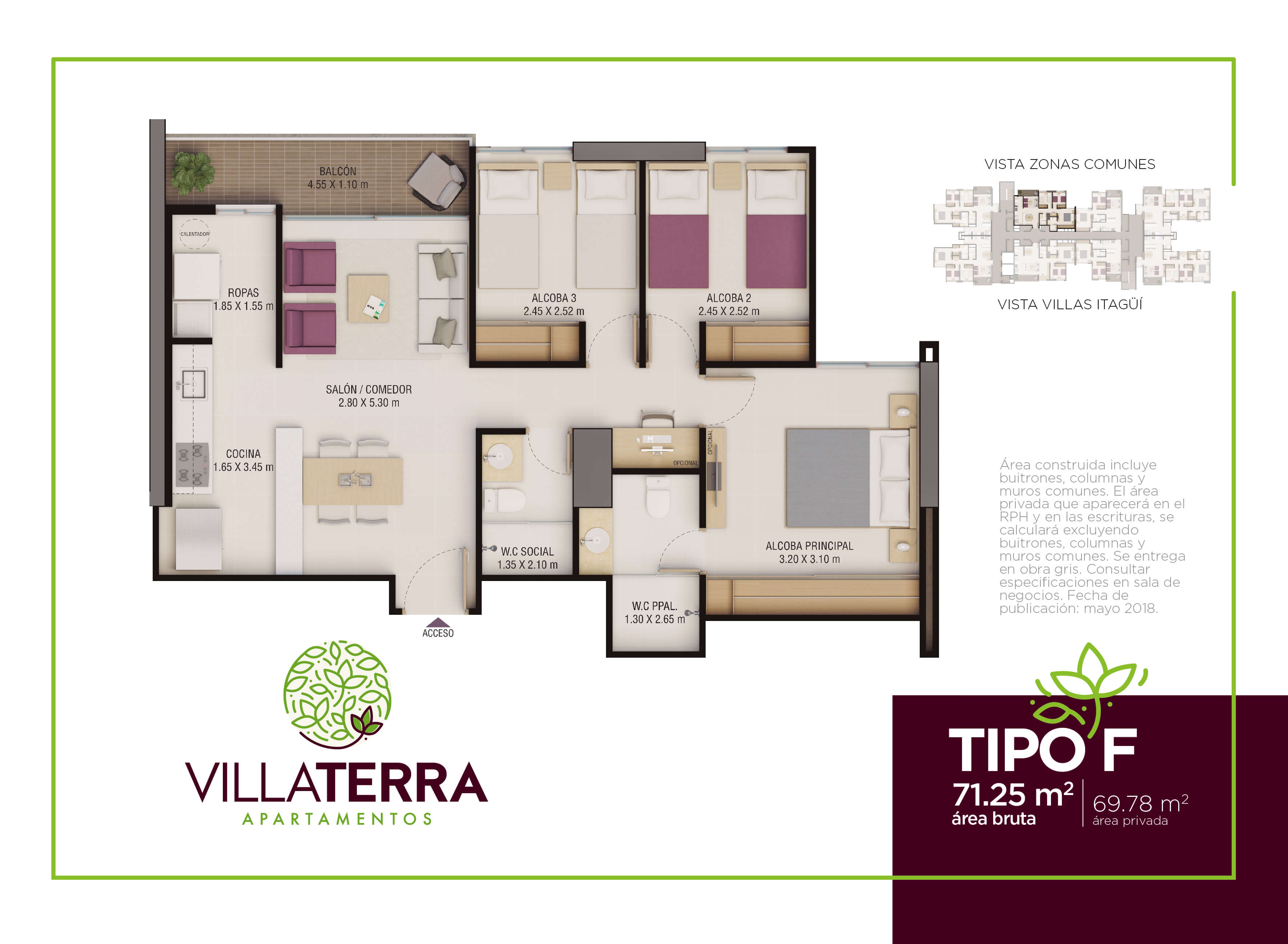 71,25 m2 tipo F