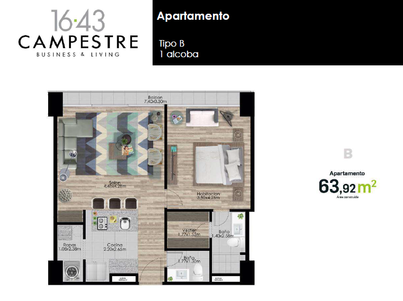 63,92 m2 tipo B