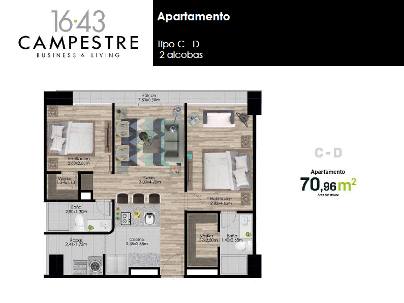 70,96 m2 tipo C - D