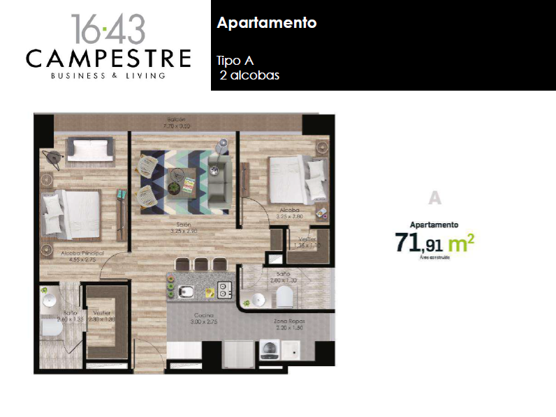 71,91 m2 tipo A