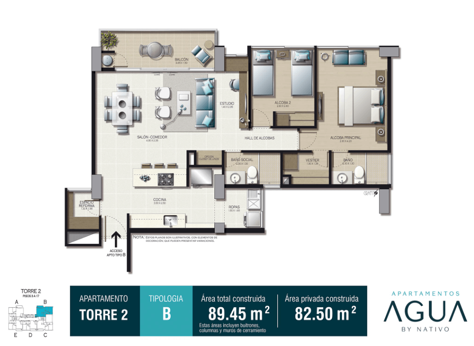 Tipo B Torre 2 82.50 m2