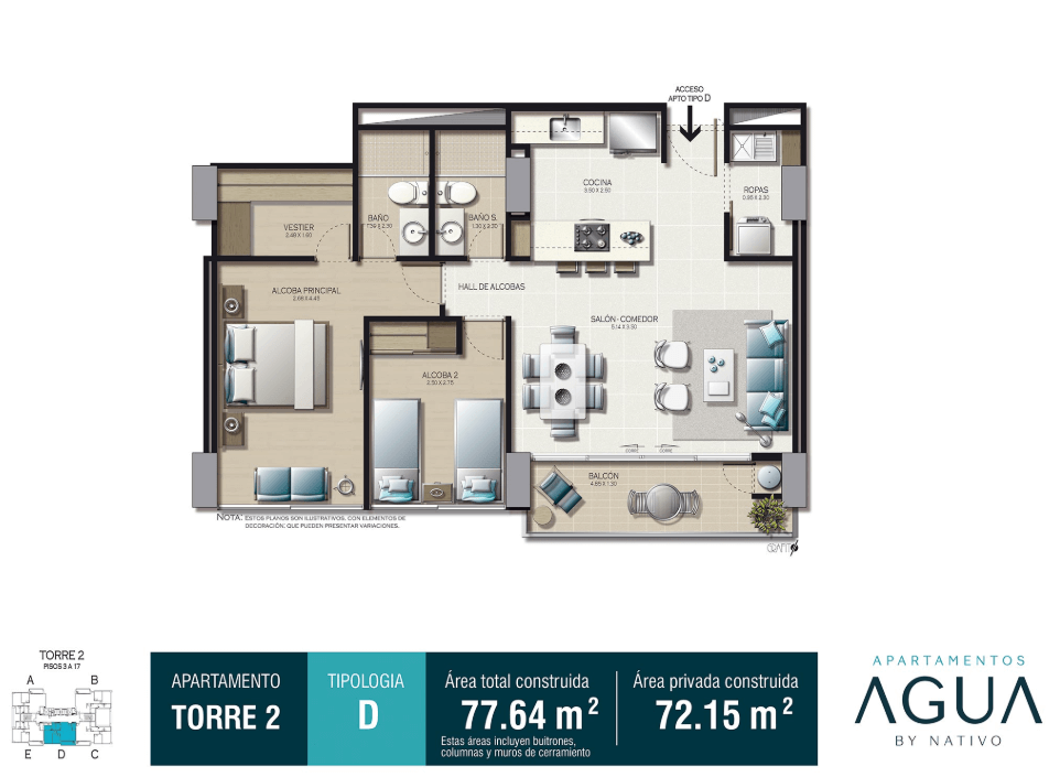 Tipo D Torre 2 72.15 m2